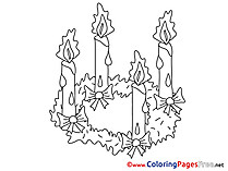 Flame Candle Coloring Pages Advent for free