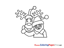 Friends Deer Santa Claus free Colouring Page Advent