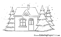House Colouring Page Advent free