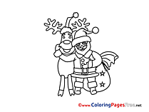 Kids Advent Coloring Page Deer