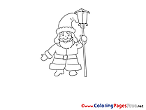 Lamp Santa Claus Kids Advent Coloring Page