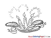 Light free Colouring Page Advent Flame