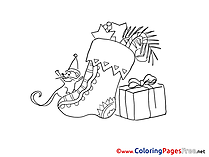 Mouse Gift free Advent Coloring Sheets