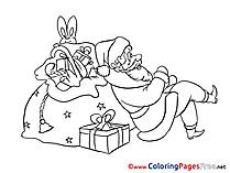 Rabbit Santa Claus printable Advent Coloring Sheets