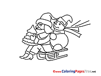 Sled Coloring Sheets Advent free