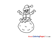 Snowball Colouring Page Advent free
