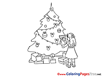 Tree Girl Advent Colouring Sheet free