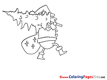 Tree Man Bag Children Advent Colouring Page