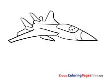 Kids printable Plane Colouring Page