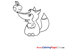 Apple Fox Children Coloring Pages free