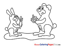 Carrot Hare Coloring Pages for free