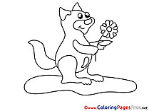 Flower Squirrel Children Coloring Pages free