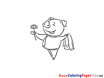 Pig Children download Colouring Page