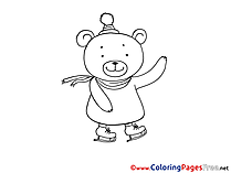 Skates Bear printable Coloring Sheets download