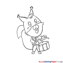Squirrel free Colouring Page download