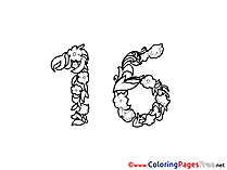 16 Years Coloring Sheets Birthday free