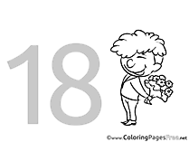 18 Years Colouring Sheet download Birthday