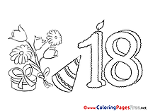 18 Years Kids Birthday Coloring Page