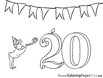20 Years free Birthday Coloring Sheets