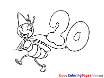 20 Years printable Coloring Pages Birthday