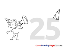 25 Years Birthday Colouring Sheet free