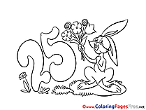 25 Years Children Birthday Colouring Page