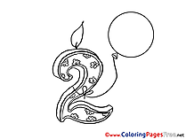 2 Years Birthday free Coloring Pages