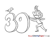 30 Years Coloring Pages Birthday