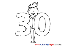 30 Years printable Birthday Coloring Sheets