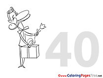 40 Years Birthday Coloring Pages free