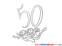 50 Years Birthday Coloring Pages download