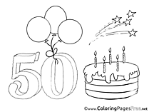 50 Years Kids Birthday Coloring Page