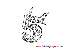 5 Years Coloring Pages Birthday