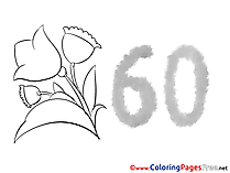 60 Years Birthday Colouring Sheet free