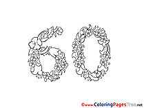 60 Years for Kids Birthday Colouring Page