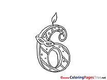 6 Years free Colouring Page Birthday