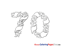 70 Years printable Birthday Coloring Sheets