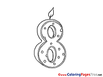 8 Years Birthday Coloring Pages free