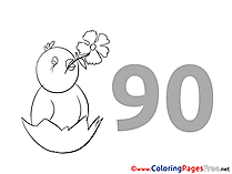 95 Years free Colouring Page Birthday