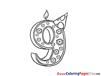 9 Years Kids Birthday Coloring Pages