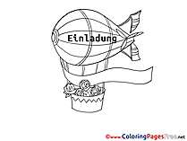 Airship free Colouring Page Birthday