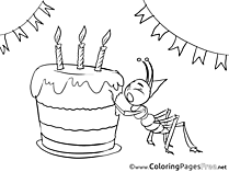 Ant printable Birthday Coloring Sheets