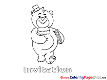 Bear printable Coloring Pages Birthday