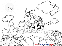 Bee Kids Birthday Coloring Pages