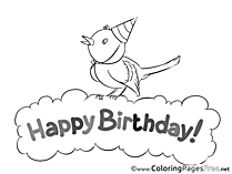 Bird for Kids Birthday Colouring Page