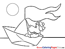 Boat Birthday Colouring Sheet free