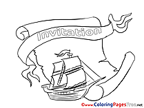 Boat Colouring Page Birthday free