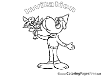 Bouquet Dog free Colouring Page Birthday