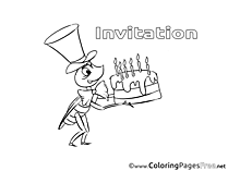Cake Birthday Coloring Pages free