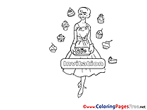 Cakes Birthday Colouring Sheet free